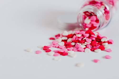 confectionery multicolored heart candy sprinkles