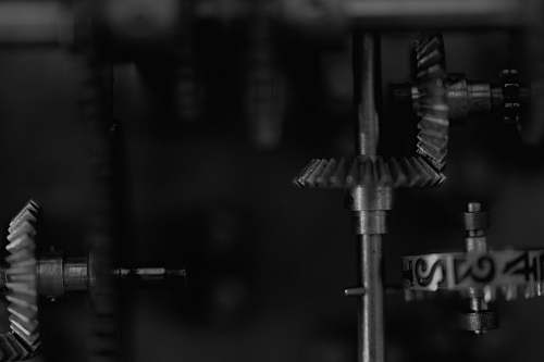 black-and-white black and gray metal tool machine