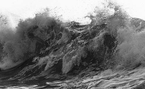 sea grayscale photography of water wave black-and-white