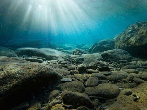 ocean rocks on sea bed underwater