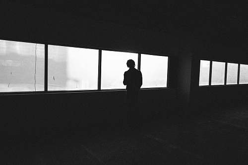 silhouette man in room person