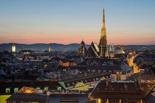 city aerial photography of city buildings austria