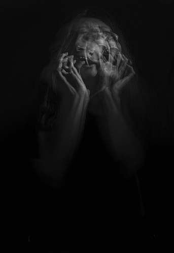 human woman's portrait black-and-white