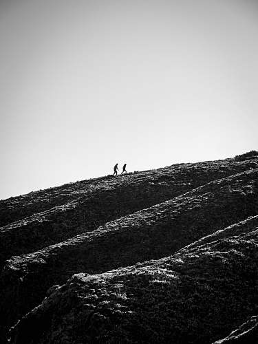 nature grayscale photo of person walking on hill slope