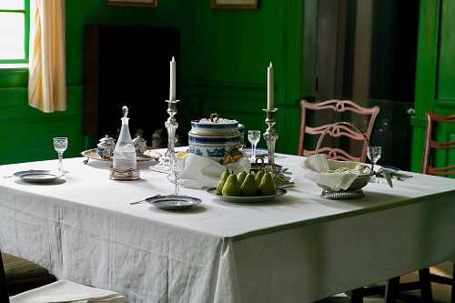 table dinnerware kit on table inside room mount vernon