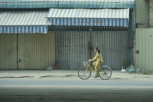 bike woman riding bicycle transportation