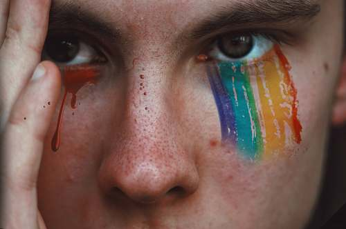 skin closeup photography of person with rainbow eyeshadow austria