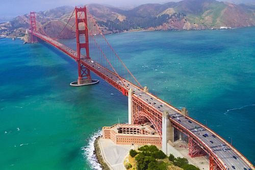 photo aerial view of Golden Gate Bridge free for commercial use images