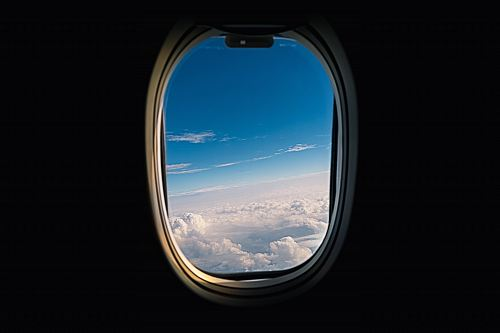 photo airline window viewing white clouds free for commercial use images