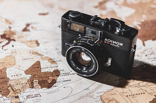 photo black Konica SLR camera on map free for commercial use images