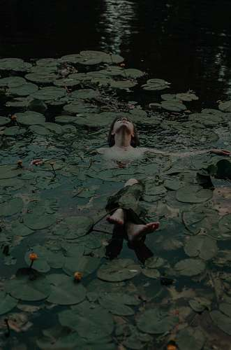 plant woman lying on body of water lily