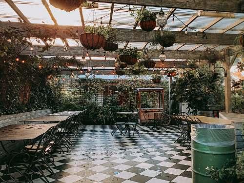 porch food cart near empty dining sets inside pergola during day pergola