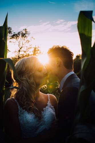 human woman and man kissing on grass field wedding