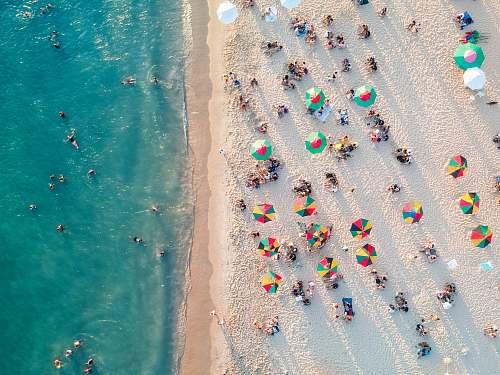 miami bird's eye view photo of people on beach water