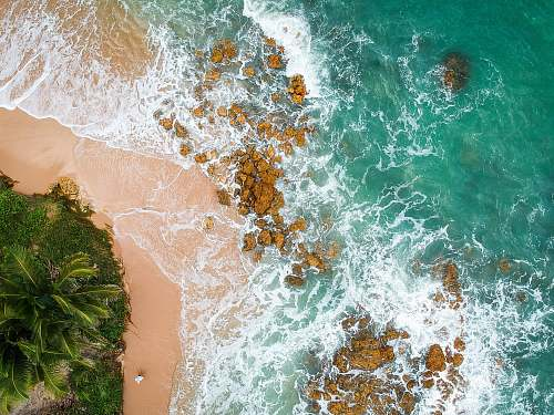 sea aerial shot of seashore beach