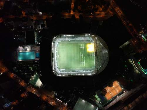 outdoors bird's eye view photography of NFL field night