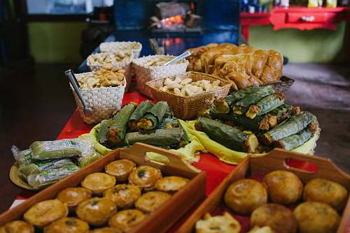 food croissant breads near basket full of pastry on table minas gerais