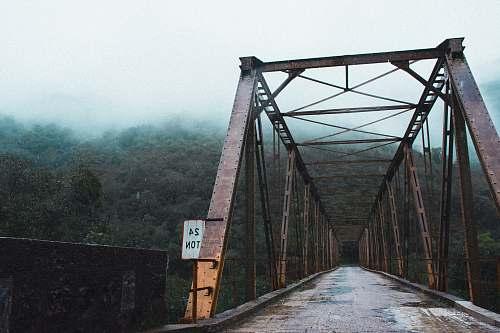 bridge high bridge near green forest covered with fog nova roma do sul
