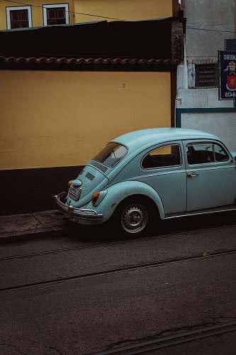 car teal Volkswagen Beetle Type 1 vehicle