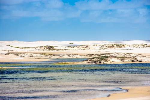 outdoors body of water near snow covered land under calm blue sky sand