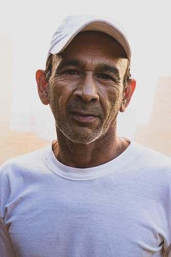 person men's white crew-neck shirt human