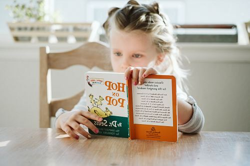 photo girl sitting while reading book free for commercial use images