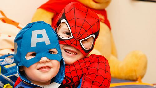 photo kids in spiderman and Captain America costumes free for commercial use images