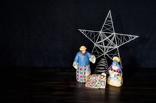 nativity scene figurine set on table