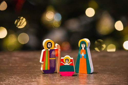 The Nativity figurine on table