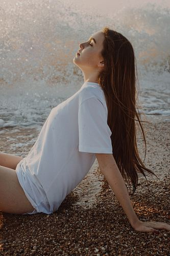 woman wearing white crew-neck t-shirt
