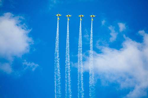 blue four stunt planes during daytime leite lopes airport