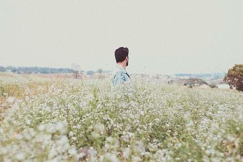 person man in garden of flowers field