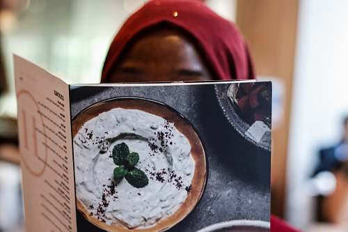 mouth woman reading menu list haz