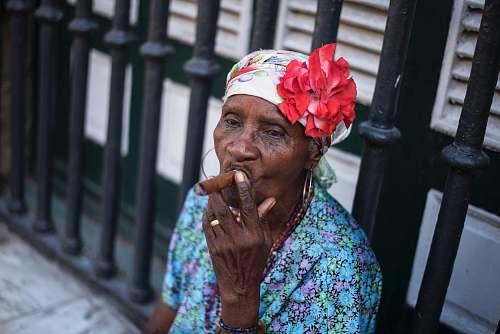 human woman using cigar people