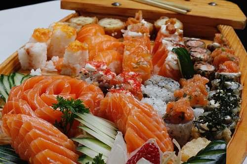 sushi closeup photo of sushi brown