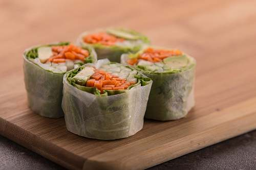 sushi four raw foods on tray vegetable