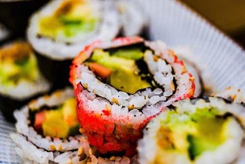 sushi macro photography of sushi food burger