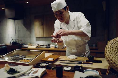japan man in chef suit human