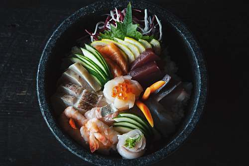 vegetable seafood dish filled pot bowl