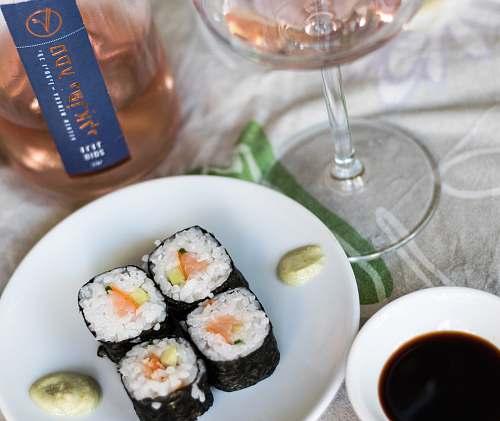 sushi sushi dish wine