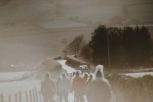 edale people walking on pathway near vehicle united kingdom