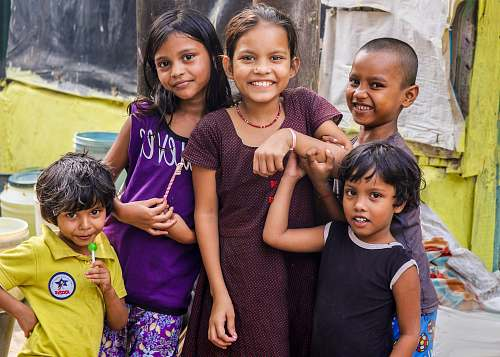 person five children smiling people