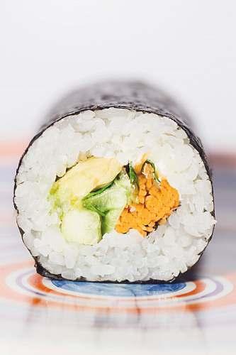 food maki roll on table egg