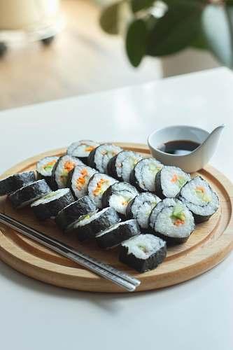 food sushi on platter japan