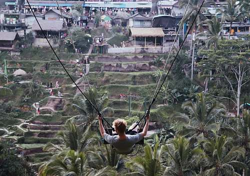 person man riding on swing adventure