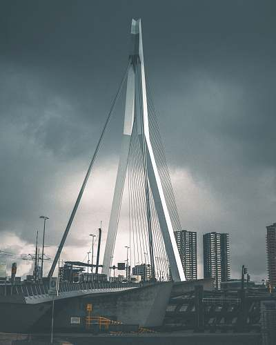 grey gray suspension bridge under gray clouds rotterdam
