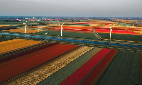 landscape three white wind turbines nature