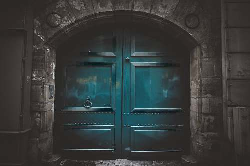 grey blue wooden double arch door s architecture