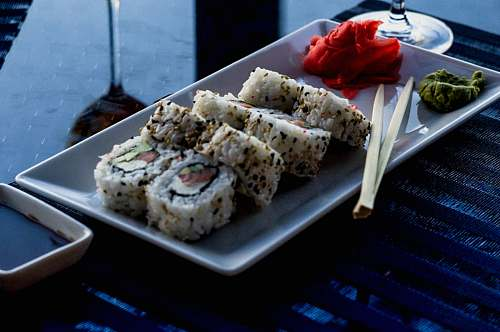 sushi sushi on rectangular plate seasoning