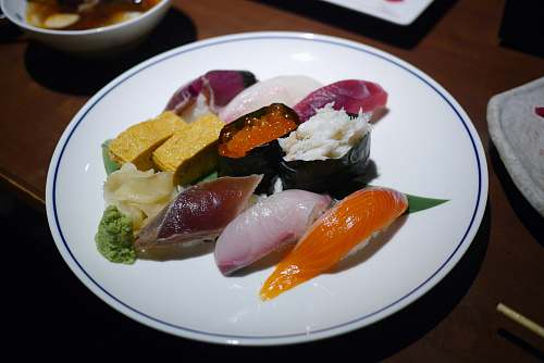 meal sushi on white ceramic plate dish
